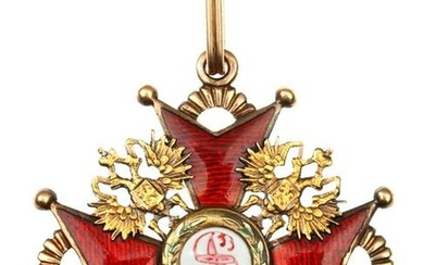 A GOLD IMPERIAL RUSSIAN ORDER OF ST. STANISLAUS