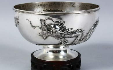 A GOOD 19TH CENTURY CHINESE SOLID SILVER DRAGON BOWL &