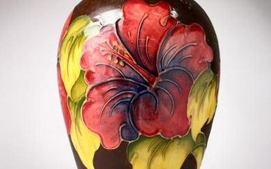"""A GOOD MOORCROFT POTTERY VASE, """"Hibiscus"""". No. 75 of"""