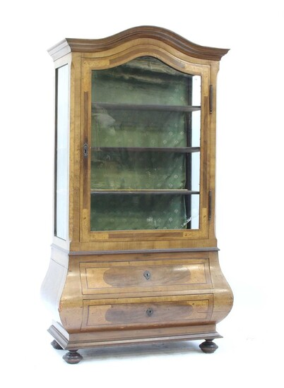 A German inlaid walnut display cabinet