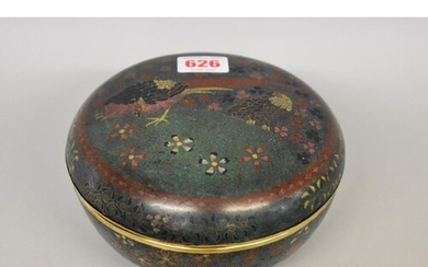 A Japanese cloisonne enamel circular box and cover, 19th cen...