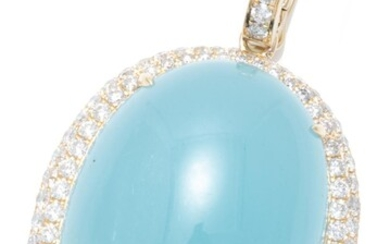 A LARGE AQUAMARINE AND DIAMOND ENHANCER PENDANT; featuring an oval cabochon aquamarine of 31.75ct set in 9ct gold frame and bale set...