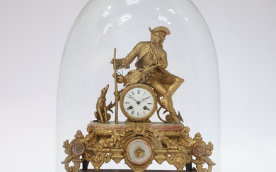 A LARGE NINETEENTH CENTURY SPELTER AND ALABASTER CASED MANTLE CLOCK UNDER GLASS DOME.