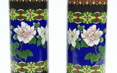 A PAIR OF CHINESE CLOISONNE VASES OF CYLINDER FORM ON CARVED WOODEN BASES, ONE 27.5 CM HIGH INCLUDING BASE, THE OTHER 28 CM HIGH IN...