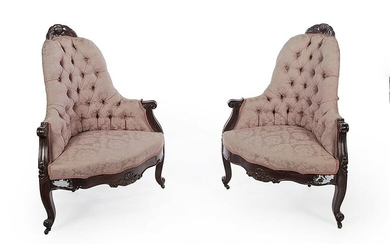 A PAIR OF VICTORIAN CORNER CHAIRS.