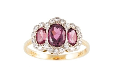 A PINK SAPPHIRE AND DIAMOND TRIPLE CLUSTER RING, mounted in ...