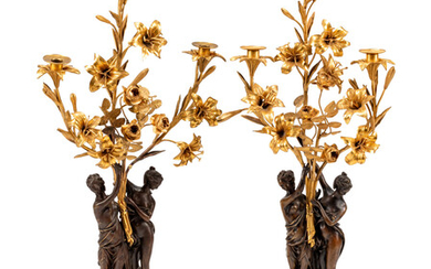 A Pair of Continental Gilt and Patinated Bronze Figural Candelabra