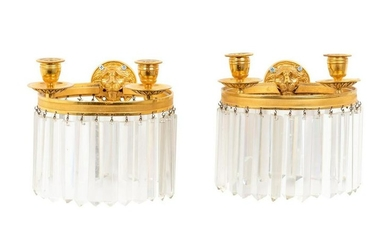 A Pair of Empire Style Gilt Bronze Two-Light Sconces