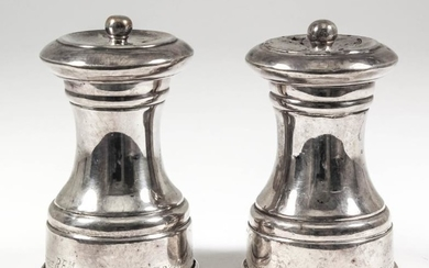 A Pair of Late Victorian Silver Salt and Pepper...