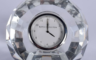 A ROYAL DOULTON CRYSTAL RADIANCE COLLECTION CLOCK. 7 cm