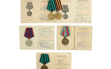 A RUSSIAN SOVIET MEDALS WITH ORIGINAL DOCUMENTS