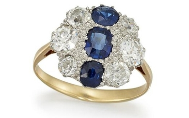 A SAPPHIRE AND DIAMOND CLUSTER RING The floraform