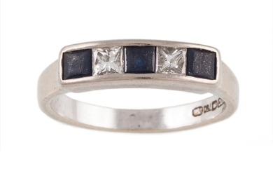 A SAPPHIRE AND DIAMOND FIVE STONE RING mounted in 18ct white...