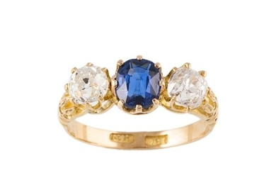 A SAPPHIRE AND DIAMOND THREE STONE RING, set with old cut st...