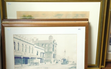 A SET OF FIVE FRAMED MELBOURNE STREET SCENES AND A PAIR OF LANDSCAPE ENGRAVINGS