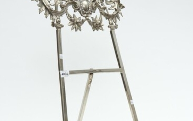 A SILVER PLATE TABLE PICTURE STAND WITH PROFUSE FLORAL DETAILS STAMPED AND SIGNED TO REAR FM GES SCHEUTZ A2780, 61 CM HIGH, LEONARD...