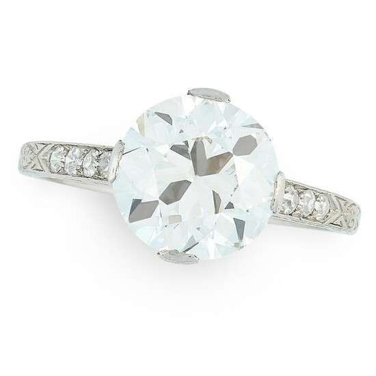 A SOLITAIRE DIAMOND RING set with an old European cut