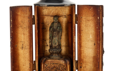 A Small Japanese Black Lacquered Buddhist Shrine with a Small Gilt Bronze Figure of Standing Buddha