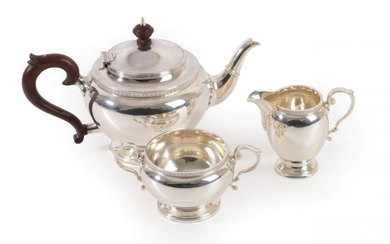 A Three-Piece George V Silver Tea-Service, by The Goldsmiths and...