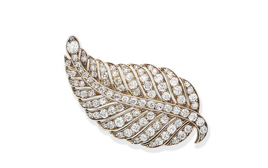 A diamond feather brooch, circa 1900