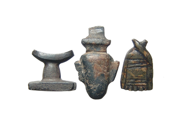 A group of 3 Egyptian stone amulets, Late Period
