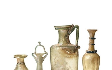 A group of roman glass ware, presumably 3rd-10th Century A.D.