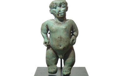 A large Egyptian faience figure of Pataikos