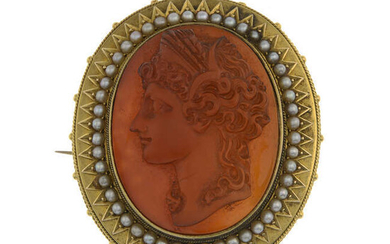 A late Victorian gold, carnelian and split pearl cameo brooch.
