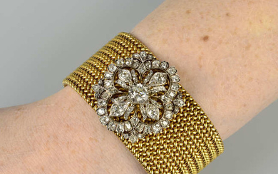 A late Victorian old-cut diamond floral brooch, with near-period 18ct gold bracelet fitting.