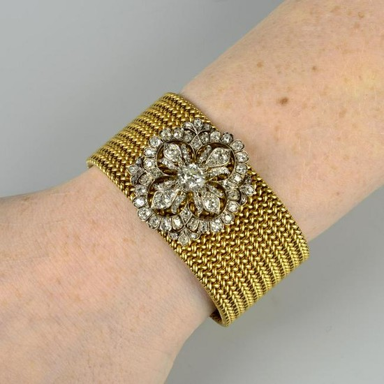 A late Victorian old-cut diamond floral brooch, with