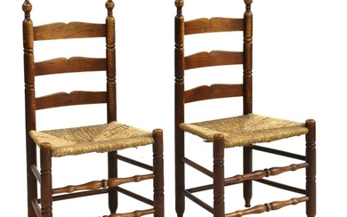 A pair of American figured maple and ash slat-back side chairs