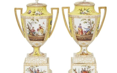 A pair of German porcelain twin handled...
