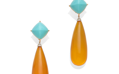 A pair of Turquoise and amber ear pendants