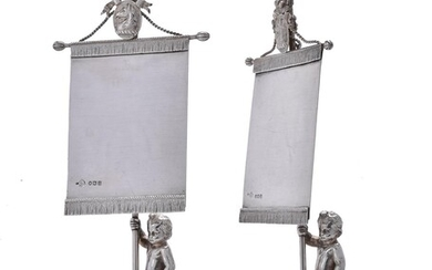 A pair of Victorian silver menu or place card holders by George Angell & Co.