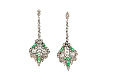 A pair of emerald and diamond pendent earrings, circa 1920