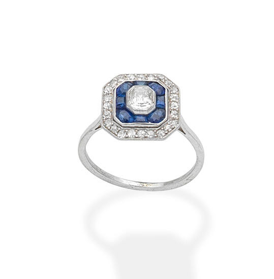 A sapphire and diamond plaque ring