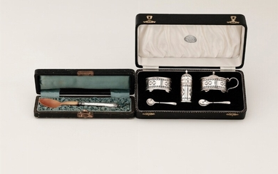 A silver set and spoon