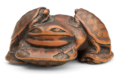 A wood netsuke of terrapins and a frog