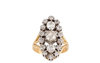 AN ANTIQUE DIAMOND CLUSTER RING, boat shaped, set with old c...