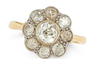 AN ANTIQUE DIAMOND CLUSTER RING in 18ct yellow gold