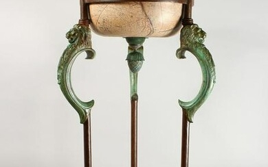 AN IMPRESSIVE BRONZE AND MARBLE BASIN ON STAND, the