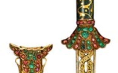 AN OTTOMAN GEM-SET JADE-HILTED DAGGER AND SCABBARD, DATED 991 AH/1583 AD, TURKEY, 16TH CENTURY AND LATER