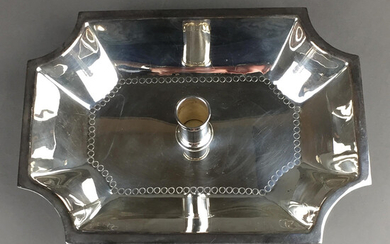 OFFER BOWL with candle holder, Spain, SILVER PLATED.