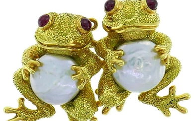 ANDREW CLUNN Yellow Gold Frog Pin BROOCH Clip with