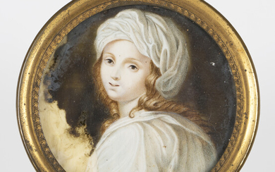 After Guido Reni - a late 19th century watercolour on ivory portrait miniature, depicting Beatrice C