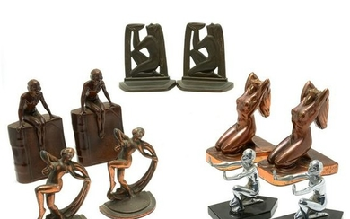 American Art Deco Group of Six Pairs of Bookends,