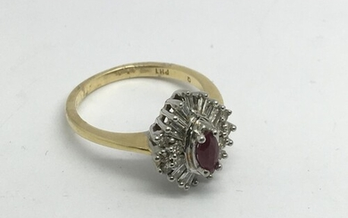 An 18ct gold diamind and ruby cluster ring, approx 4.7g and ...