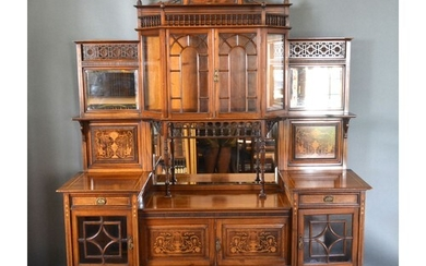 An Edwardian Mahogany Rosewood Marquetry Inlaid Side Cabinet...