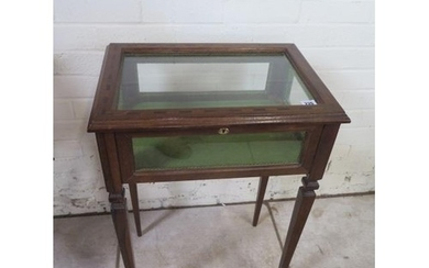 An Edwardian style bijouterie display table in square taperi...