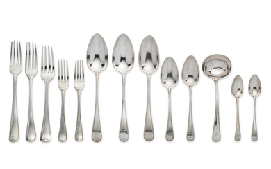 An Old English Thread pattern silver flatware service